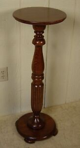 Antique Oak Pedestal Plant Stand
