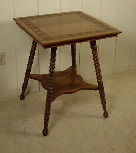 Antique Oak Lamp Table With Carved Top Shelf