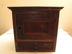 Antique Desktop Storage Case Cupboard Cabinet Drawer Mail Slots Dovetails Vtg