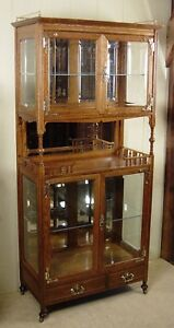 Antique Oak Very Unusual Beveled Glass China Cabinet