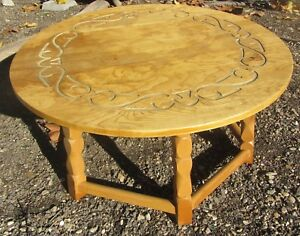 Vintage Arts Crafts Mission Coffee Table Unusual Carved Brandt Ranch Mcm