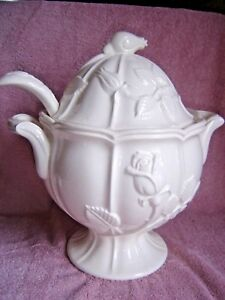 Vtg White Soup Tureen Lid Ladle Flaw Estate L M White Rose Lipper Mann Japan