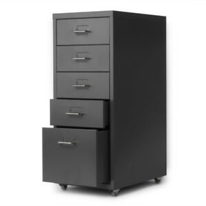 Hot 5 drawer Metal Detachable Mobile Filing Cabinet Home Office W 4 Caster H5j8