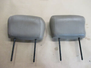 96 02 Firebird Trans Am Tan Leather Front Seat Headrest Head Rest Pair 0925 13