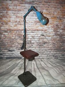 Vintage Industrial Standing Floor Lamp Adjustable W Cast Iron Base