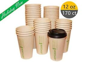12oz 100 Bamboo Fiber Degradable Hot Coffee Paper Cups with Lids 170 Counts