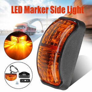 Amber 2 Led Side Marker Light Blinker For Truck Trailer Van Waterproof 12v 24v