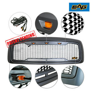 Eag Front Packaged Led Grille Gray Abs Grill 02 05 Dodge Ram 1500 Heavy Duty