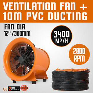 12 Extractor Fan Blower Portable 10m Duct Hose Low Noise Utility Exhaust