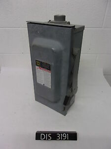 Square D 240 Volt 100 Amp Disconnect Safety Switch dis3191