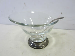 Vintage Web Sterling Silver Footed Glass Spouted Bowl W Sterling Ladle