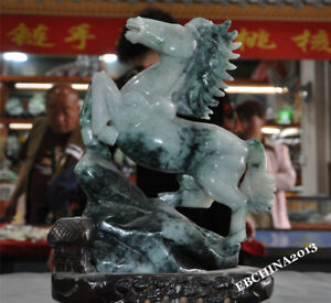 Chinese Feng Shui Natural Jadeite Emerald Jade Carved Lucky Animal Horse Statue