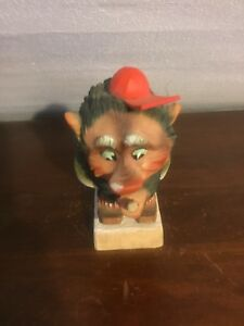 Vintage Henning Carved By Hand In Norway Troll On Skiis Make An Offer
