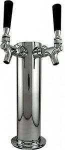 Double Beer Home Tap Tower Dispenser System Faucet With 2 Handles Polished Steel