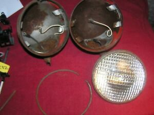 Vintage Pair Hall H11 12 Volt Sealed Beam Tractor Driving Lights Rat Rod