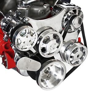 Sbc Serpentine Front Runner Pulley Drive Kit Polished chrome A c Alternator P s