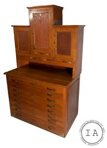 Antique Flat File With Locking Cabinets