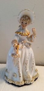 Antique Porcelain Victorian Lady Figurine Trimmed Accented In Gold Tone