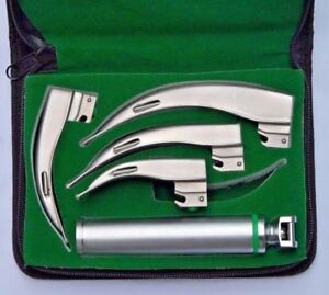 Fiber Optic Macintosh Laryngoscope Set With 4 Blades Medium Handle
