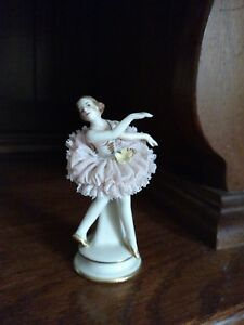 Feminine Antique Akerman Fitze German Dresden Lace Ballerina Figurine 1891