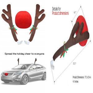 Car Decor Brown Reindeer Antlers Red Plush Nose Merry Christmas Lovely Fashion
