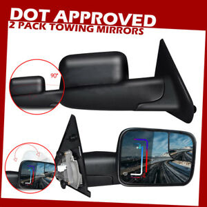 New Dot Power Heat Flip up Tow Side Mirrors For Dodge Ram 1500 2002 2008