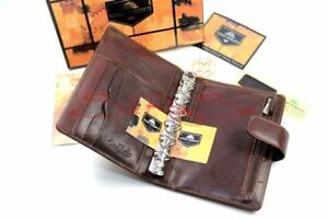 Tony Perotti Timer Organiser Ring Bar Zip Business Cards Leather Brown