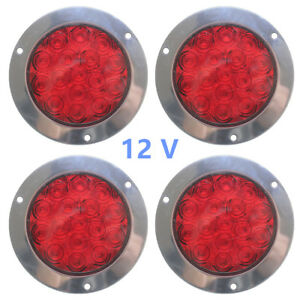 4pcs 16 Led Red Round Reverse Brake Turn Signal Rear Tail Light Trailer Rv Truck