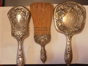 Vintage 3 Piece Sterling Silver Vanity Set Hand Mirror Brush Broom G
