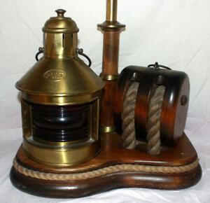 Vintage Brass Wood Nautical Lamp With Red Port Lantern Rope Rigging Ss