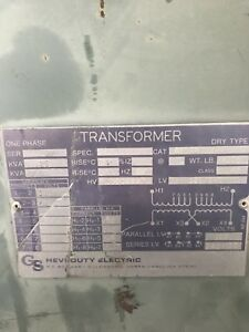 General Signal 25 Kva 240x480 120x240 Single Phase Transformer
