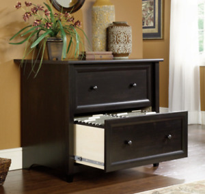 Lateral Filing Cabinet Wood 2 Drawer Hanging File Black Legal Letter Home Office