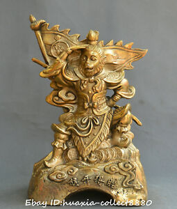 Collect Chinese Fengshui Old Bronze Handsome Monkey King Sun Wukong Statue