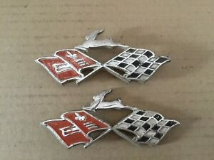 Vintage Set Of Chevy Impala Crossed Flags Emblems