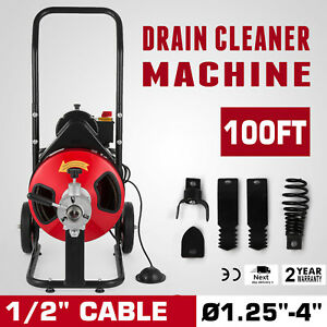 Commercial Sewer Snake Drain Auger Cleaner 100 Ft Long 1 2 4 Cutter Foot Switch