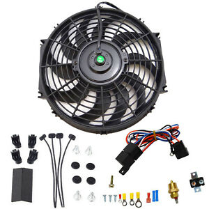 12 electric Cooling Fan 12 Volt Push in Radiator Fin Probe Thermostat Kit Black