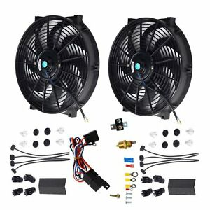 2x 14 Electric Cooling Radiator Fan Probe Ground thermostat Switch Kit Black