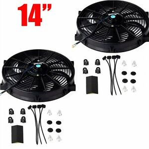 2x 14 Slim Fan Push Pull Electric Radiator Cooling 12v Universal Kit Black New