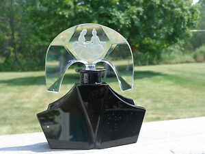 Rare Large Czech Perfume Bottle Black And Clear Glass Seated Lovers Stopper
