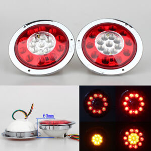 2x Round 19led Truck Trailer Lorry Stop Signal Tail Brake Light Side Marker Pair