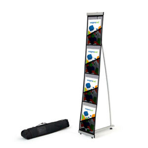 4 5 Tall Black 4 Pocket Literature Display Stand Trade Show Catalog Rack