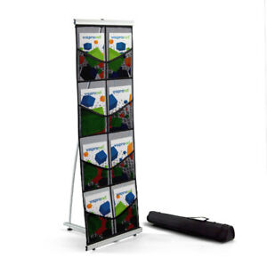 4 5 Tall Black 8 Pocket Literature Display Stand Trade Show Catalog Rack
