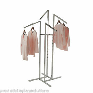 4 Way Clothing Garment Display Rack With 4 Slanted Arms 1 Square Chrome
