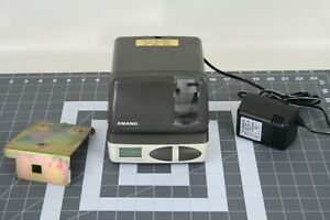 Amano Time Recorder Clock Stamper Model Pix 21 W power Cord Mount tested