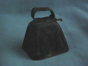 Antique Primitive Vtg Tin Dark Metal Cowbell 3 Inch Cow Bell