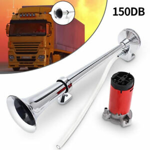 150db 12v Super Loud Air Horn Compressor Single Trumpet Truck Train Boat Us