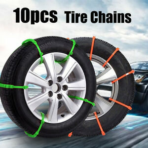 10pcs Car Truck Snow Anti Skid Wheel Tire Chains Anti Slip Belt Green Orange