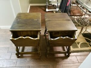 Ethan Allen Old Tavern Dough Box End Tables Dark Antiqued Pine Side Colonial