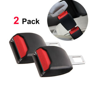1 Pair Auto Car Universal Safety Seat Belt Buckle Extension Extender Clip Black