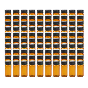 100pcs Liquid Sampling Sample Vials Glass Bottles Screwcap Capacity 10 20ml